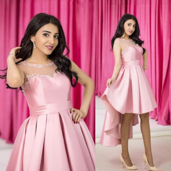 Pink Prom Dress,High Low Appliques Satin Prom Dress,Illusion Neck With Sheer Sleeves Prom Dress
