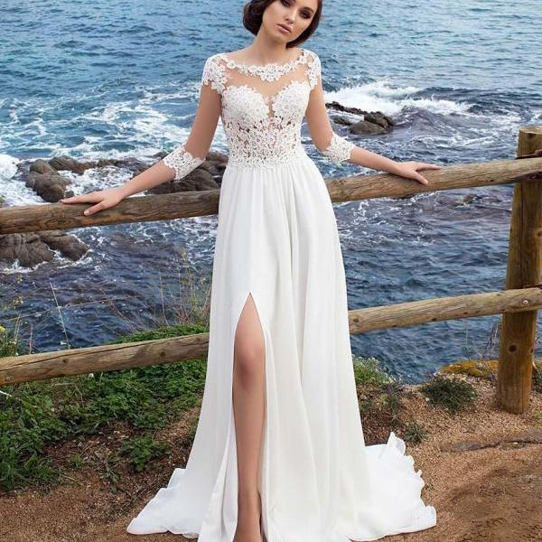 3/4 Long Sleeves Beach Beach Wedding Dress,2018 Chiffon Scoop Neck Appliques Long Bridal Gowns With Side Split