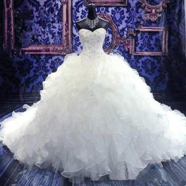 Luxury Beaded Embroidery Bridal Gown,Sweetheart Corset Organza Ruffles Cathedral Ball Gown Wedding Dress