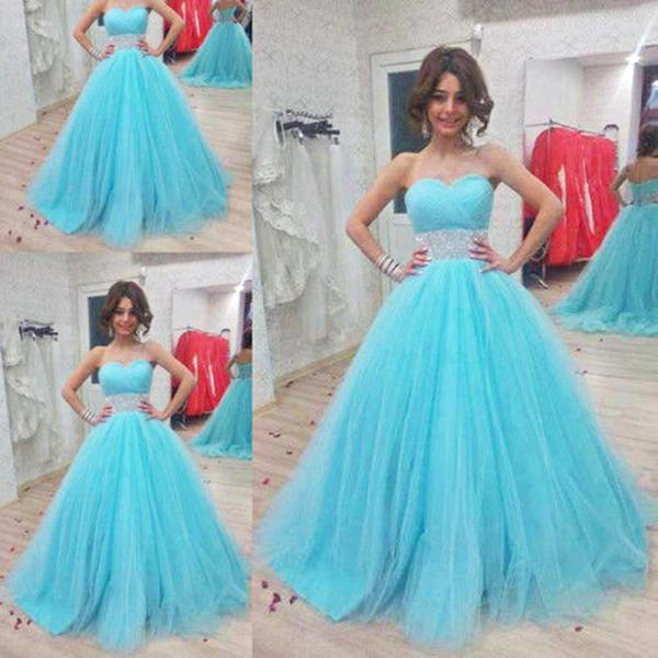 Evening Dress,Quinceanera Dresses,Ball Gown Evening Dresses,Sweet 16 Dresses,Blue Tulle Prom Dresses, Formal Evening Gowns, Party Dresses,Evening Dresses