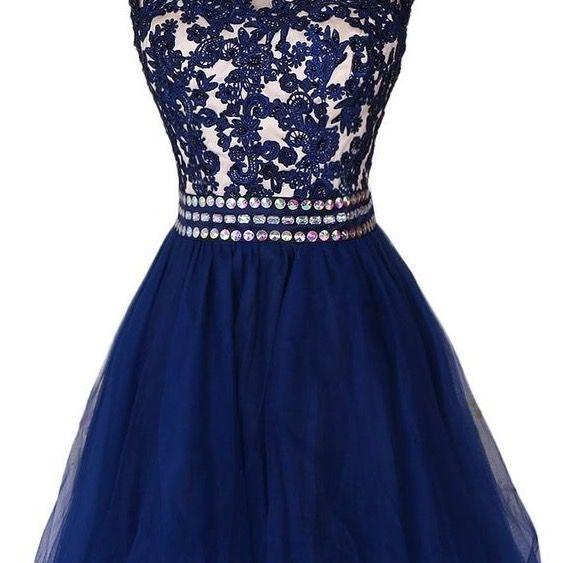 Lovely Navy Blue Short Lace Applique Prom Dresses 2016, Homecoming Dresses 2016, Short Formal Dresses