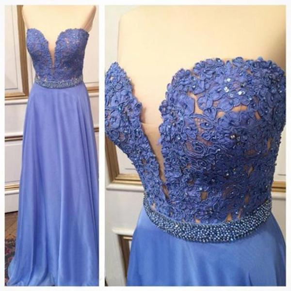Charming Prom Dress,A-Line Prom Dress,Chiffon Prom Dress,Lace Prom Dress,Sweetheart Evening Dress