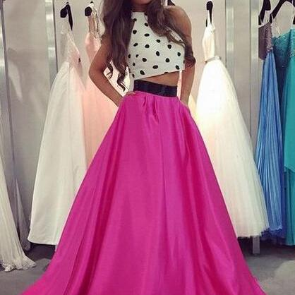 Charming Prom Dress,Two-Pieces Prom Dress,A-Line Prom Dress,Satin Prom Dress,Halter Evening Dress