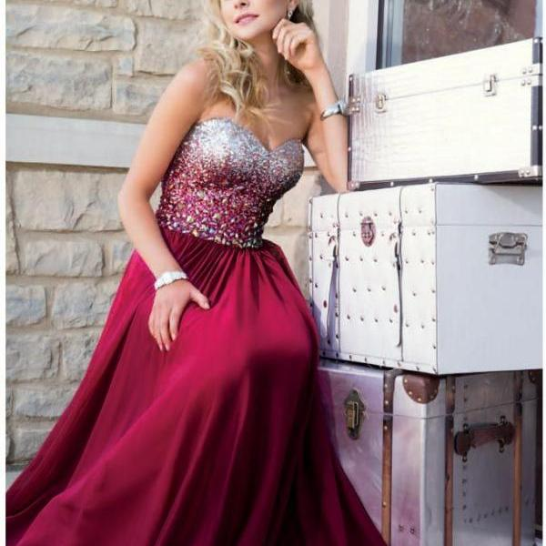 Strapless Sweetheart Beaded A-line Long Prom Dress, Evening Dress