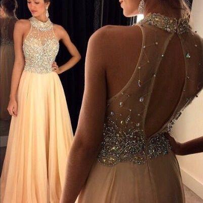 2016 Champagne Halter Prom Dresses,Crystals Beaded Open Back Chiffon Long A-line Luxury Evening Gowns,Formal Dress ,Long Homecoming Dress ,Pageant Dress for Women