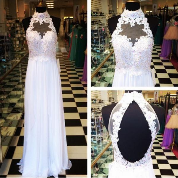 Lace prom dress, long prom dress, white prom dress, 2015 prom dress, backless prom dress, elegant prom dress