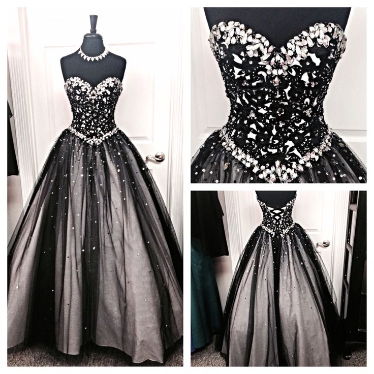 Amazing Black Prom Dress,Sweetheart Prom Dress,Crystal Beaded Prom ...